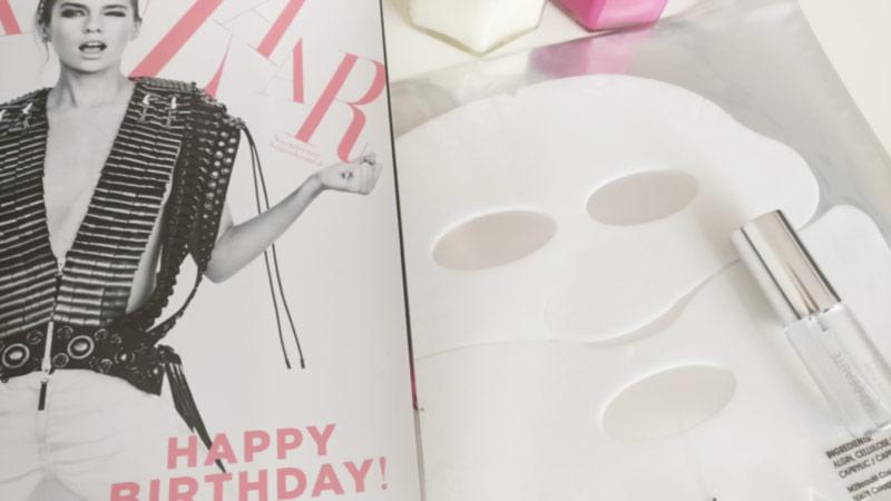 magazin bazaar mit gesichtsmaske & spray