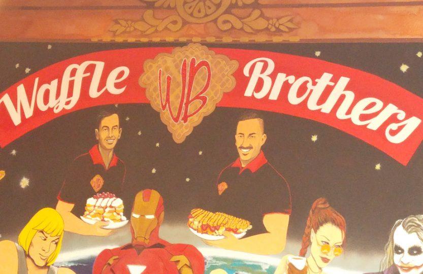 Logo Waffle Brothers als Wandmalerei